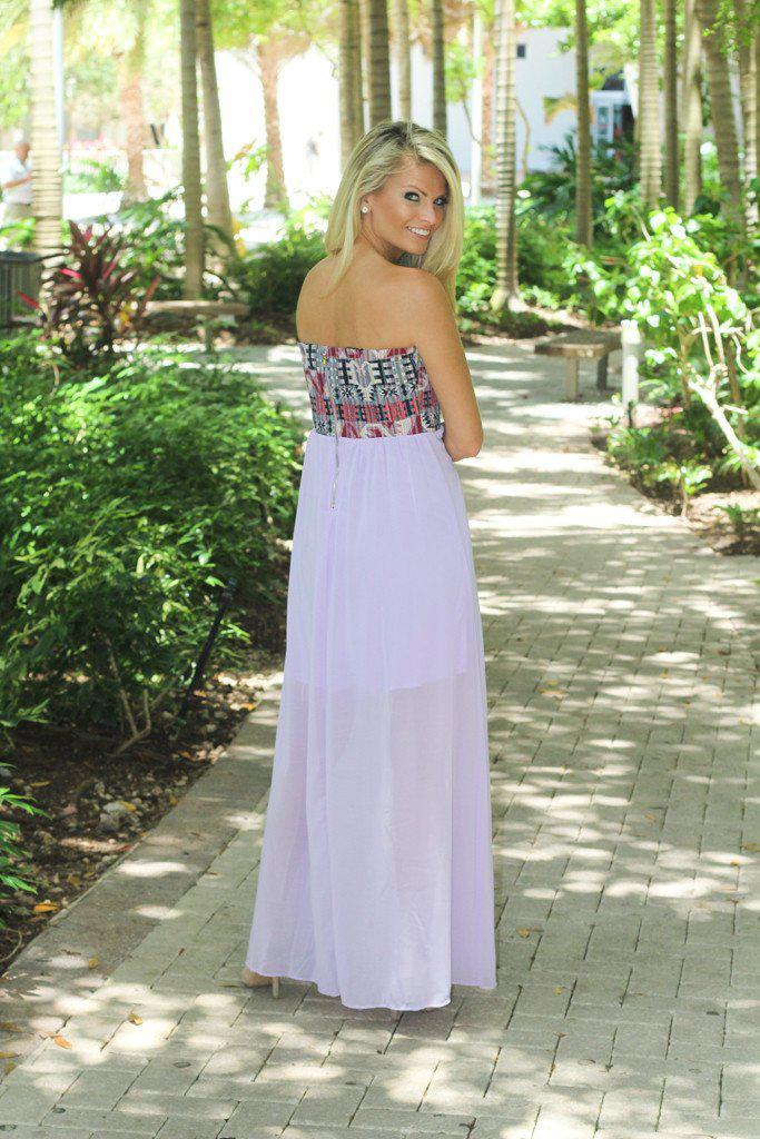Lavender And Aztec Print Maxi Dress
