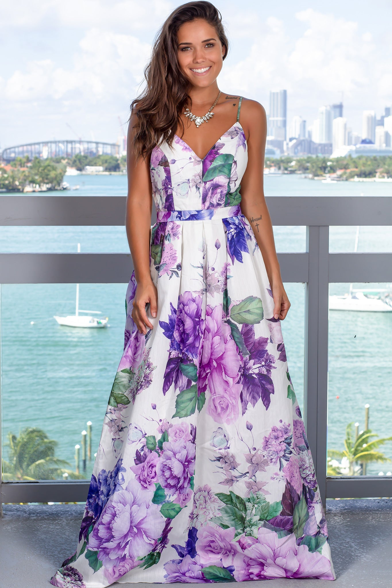 Lavender Floral Maxi Dress with Tie Back