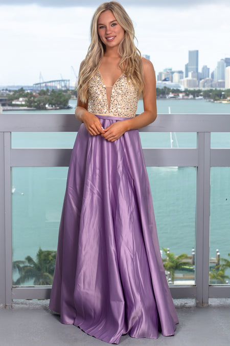 Lavender Maxi Dress with Sequin Top