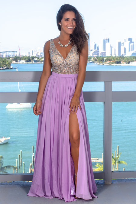 Lavender Maxi Dress with Silver Jewels