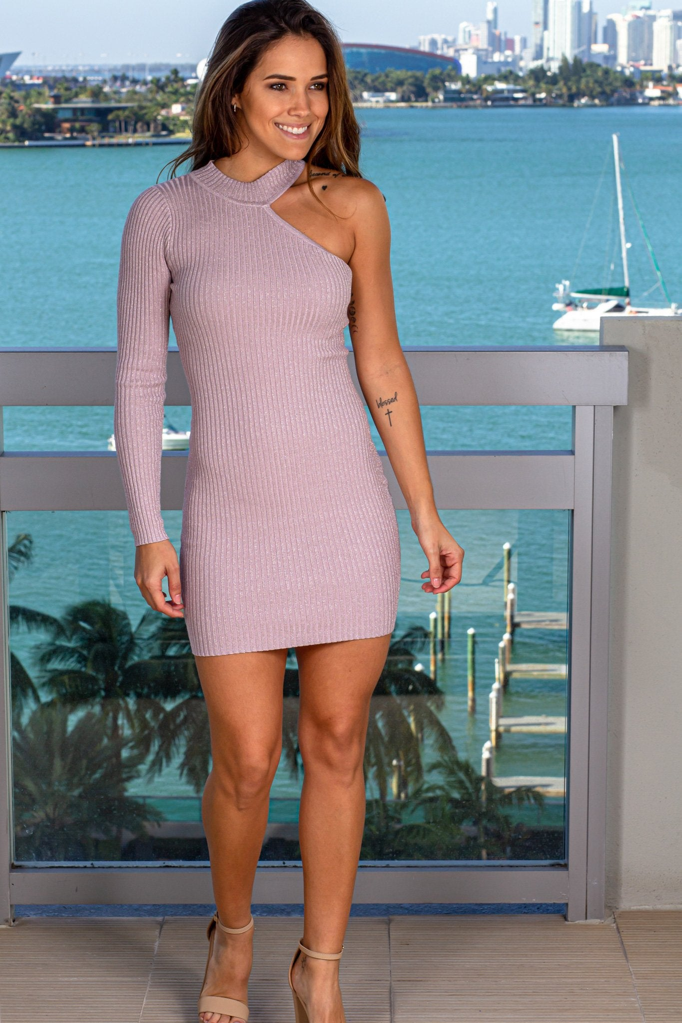 Lavender Shimmer Short Dress