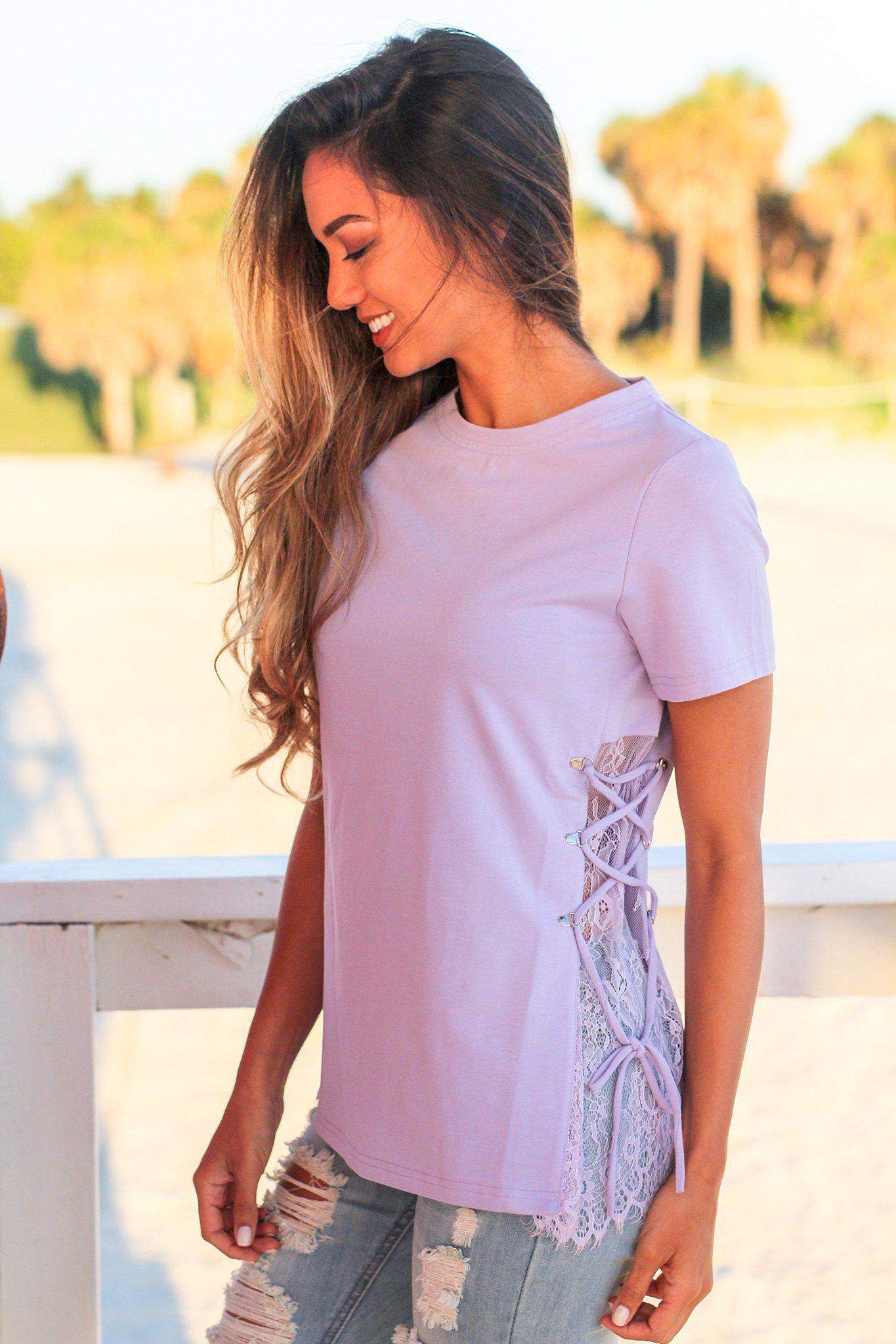 Lavender Top with Lace Up Sides