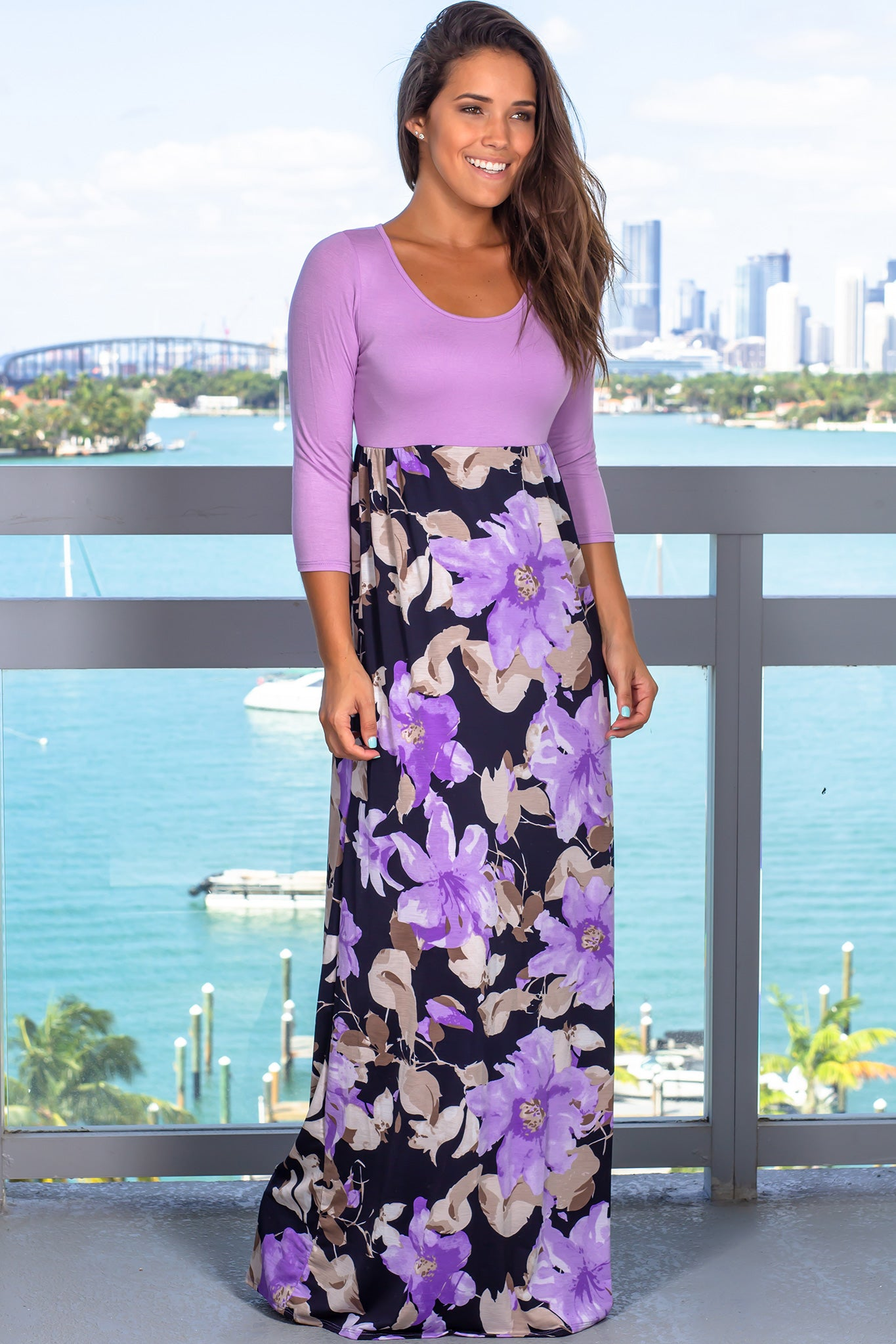 Lavender and Navy Floral Maxi Dress