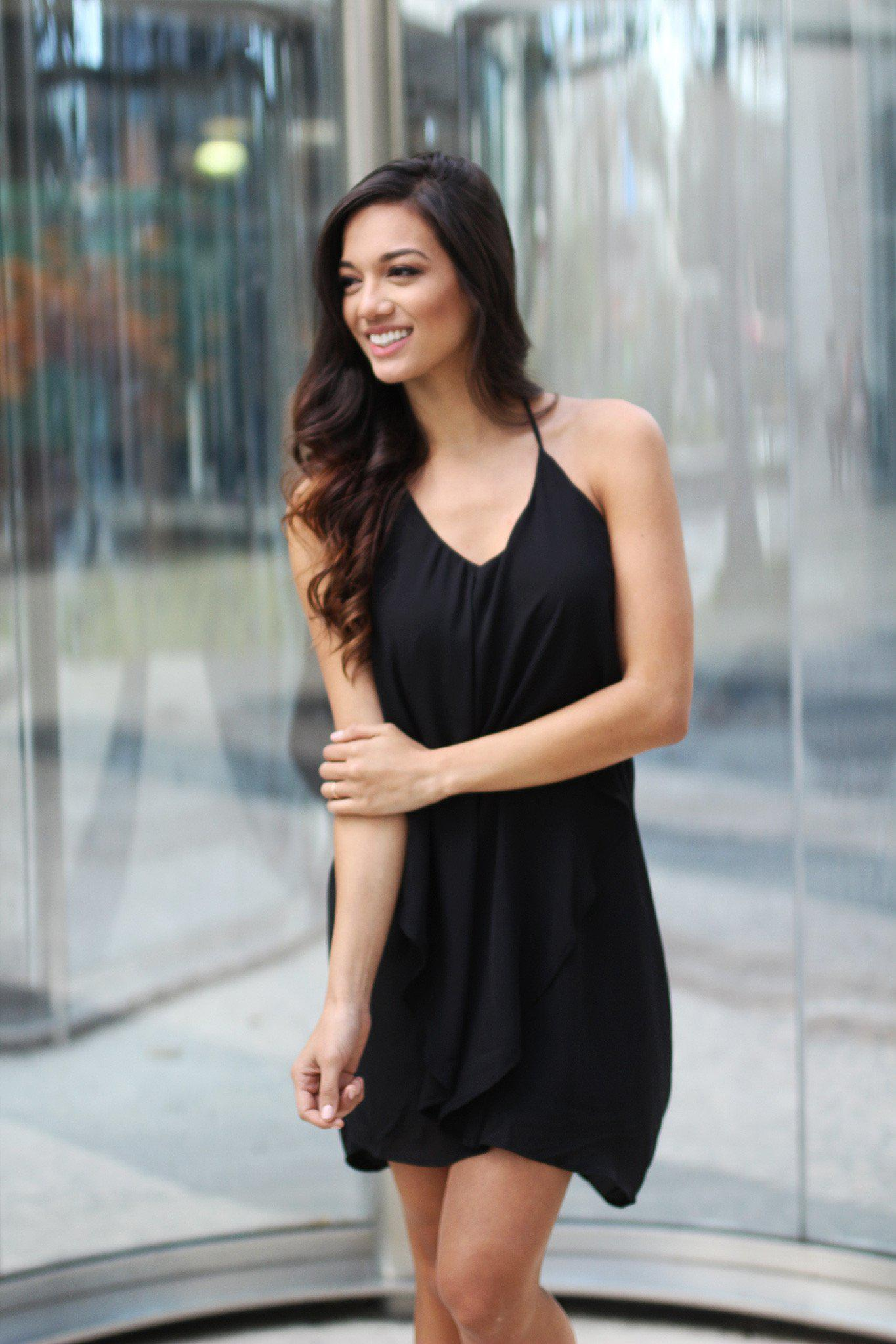 Layer Black Short Dress