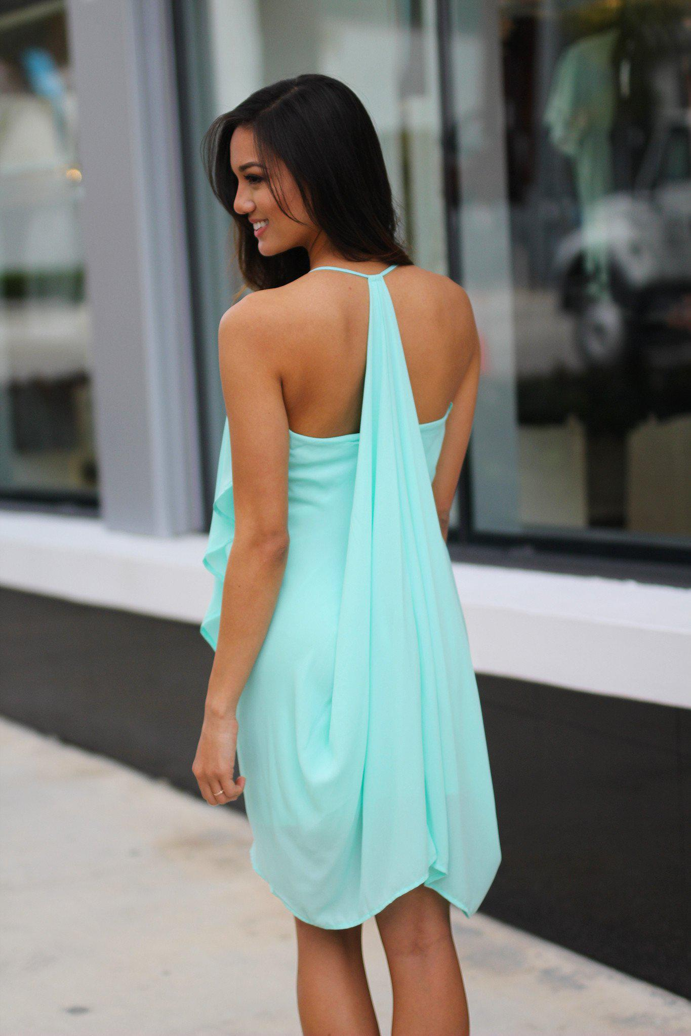 Layered Mint Short Dress