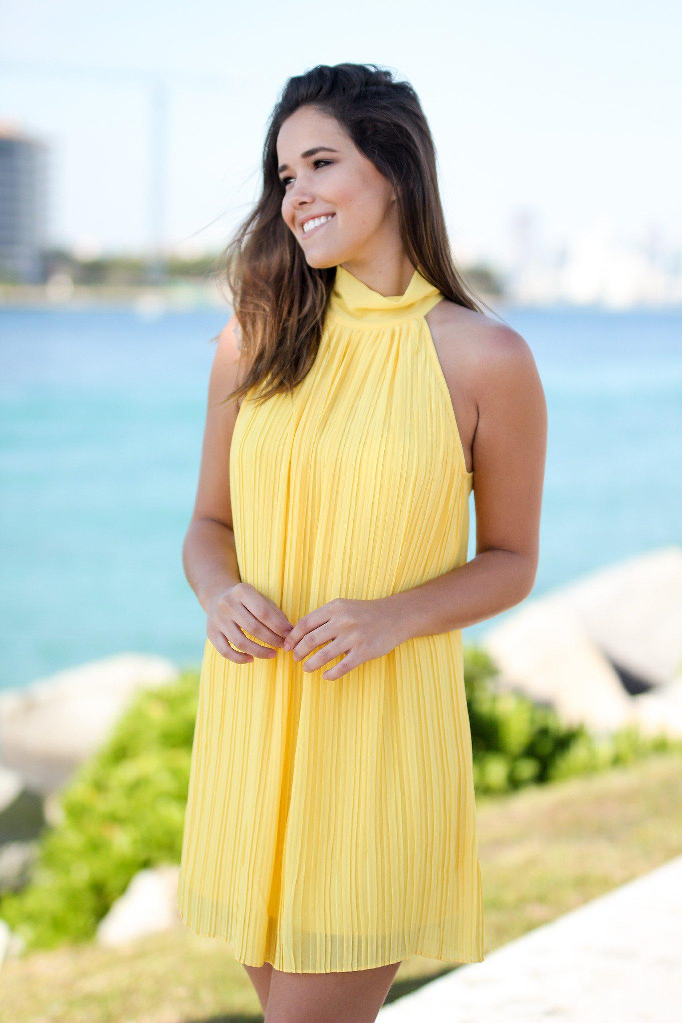 Lemon High Neck Pleated Dress