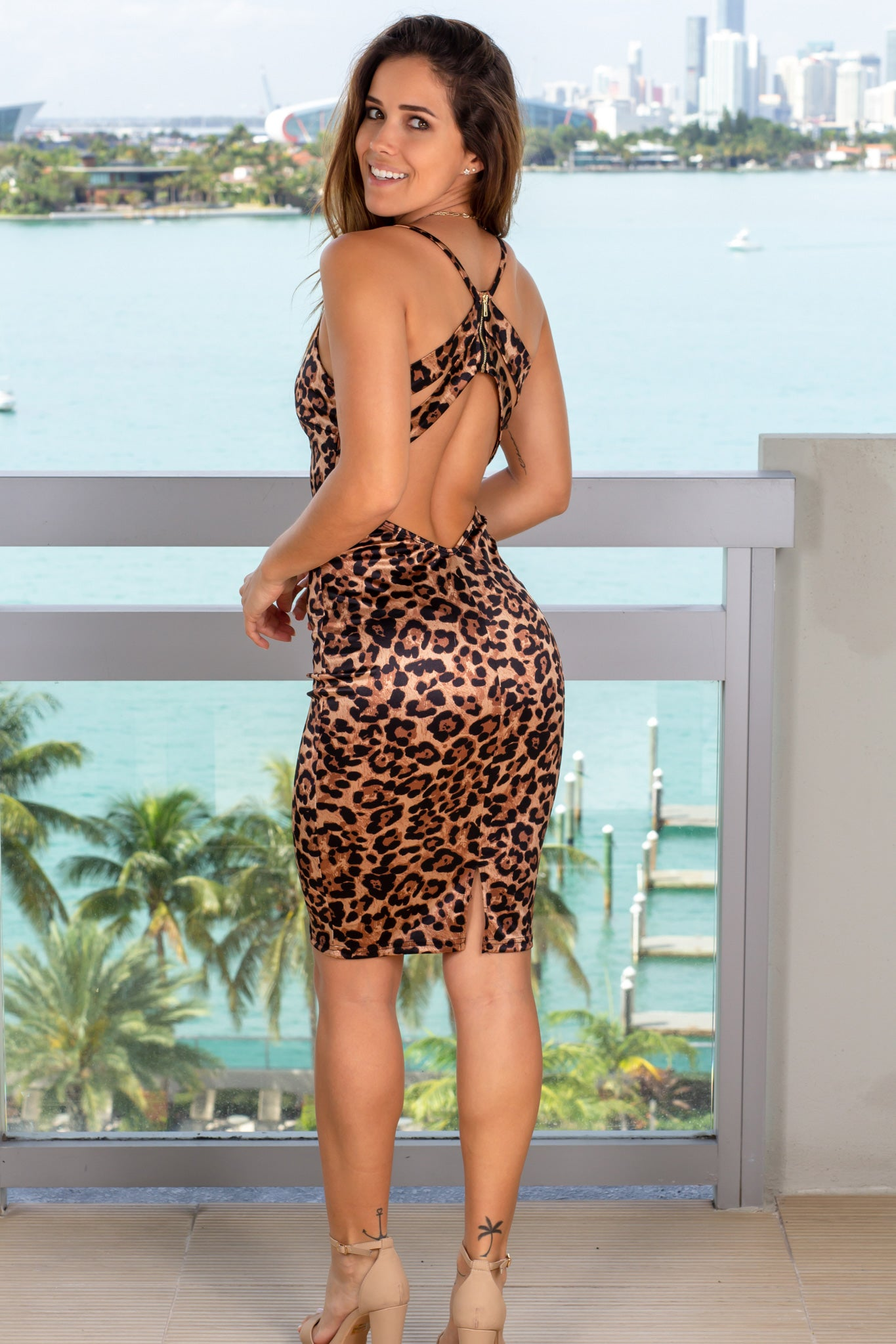 Leopard Satin Short Dress
