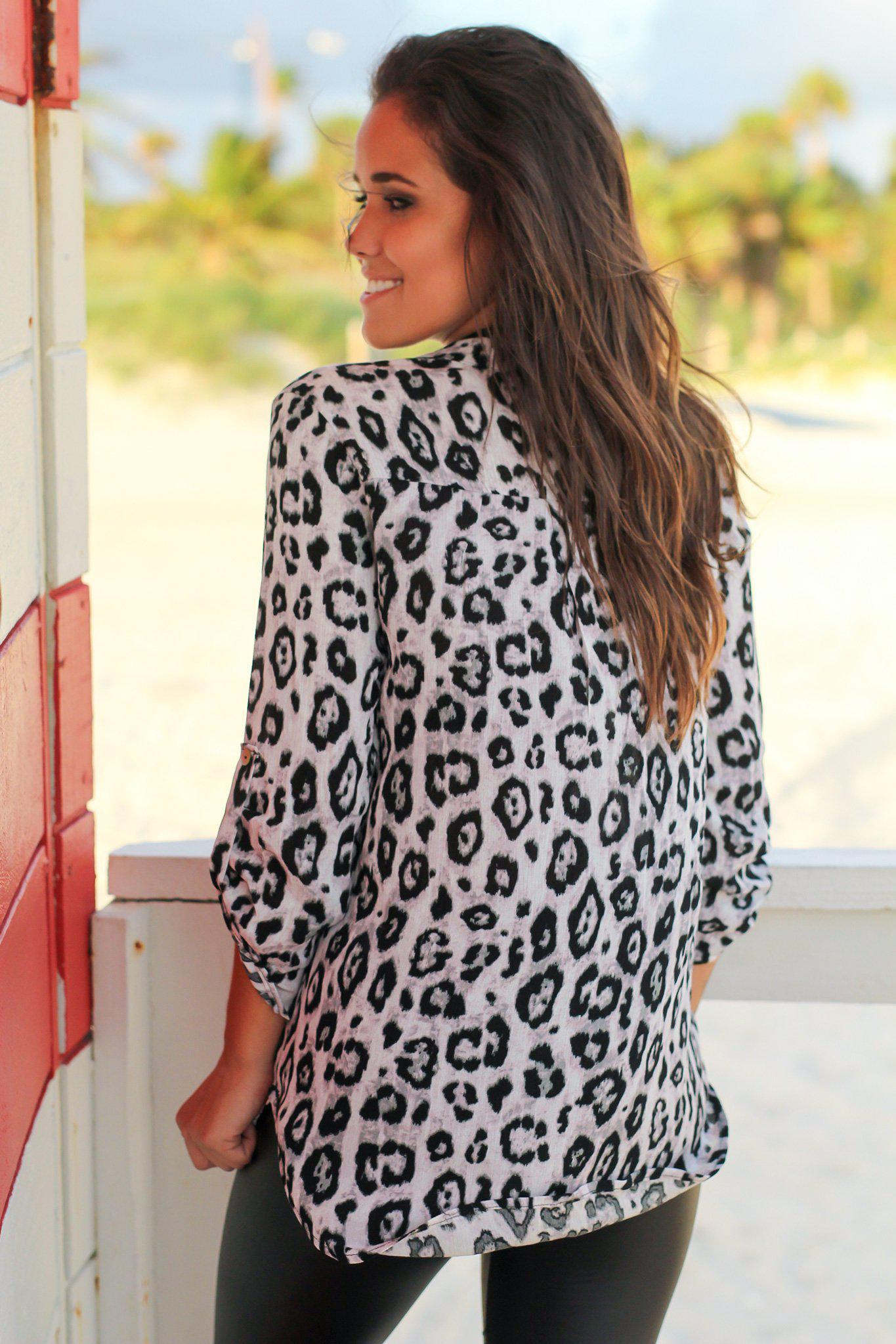 Leopard Print Top with 3/4 Sleeves