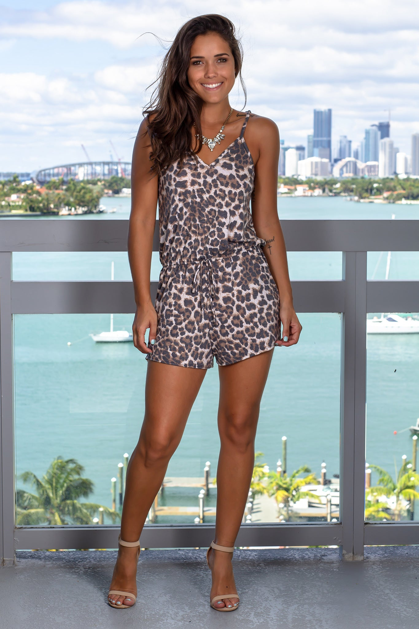 Leopard Printed Romper with Criss Cross Back