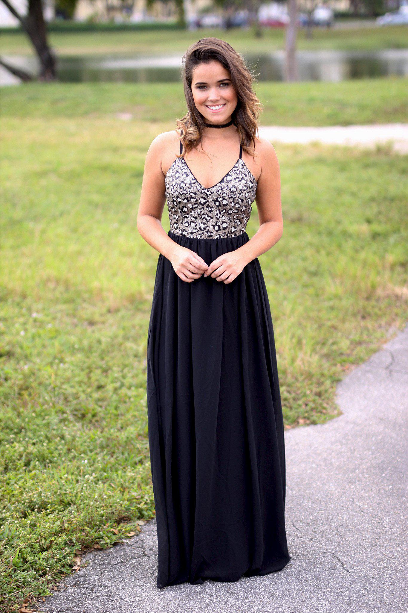 black long dress with sequins