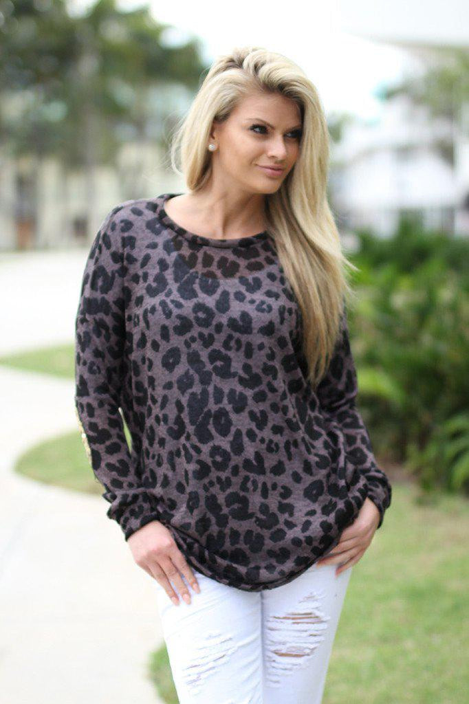 leopard sweater with sequin elbow patches