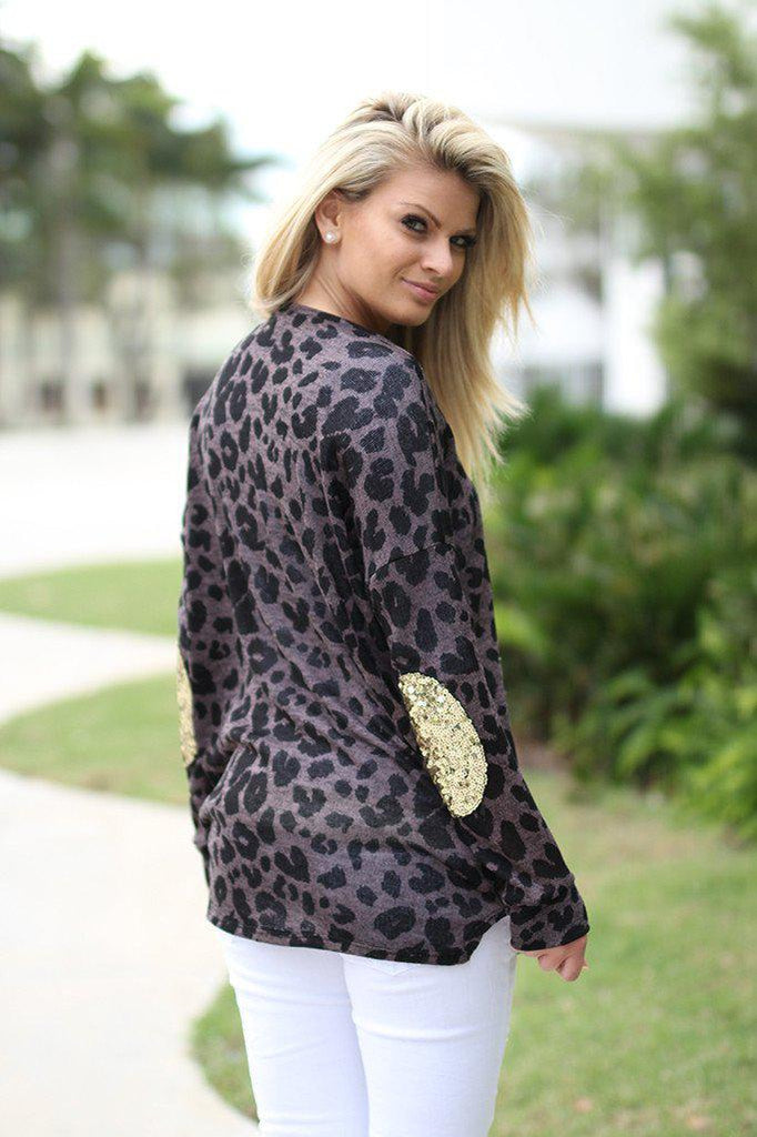 leopard patched elbows sweater