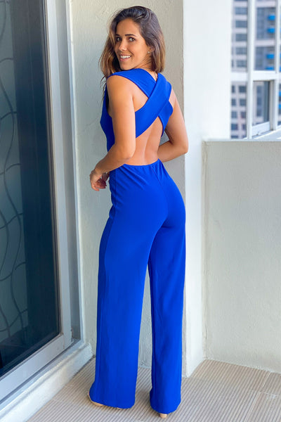 Royal Blue V-Neck Jumpsuit with Criss Cross Back