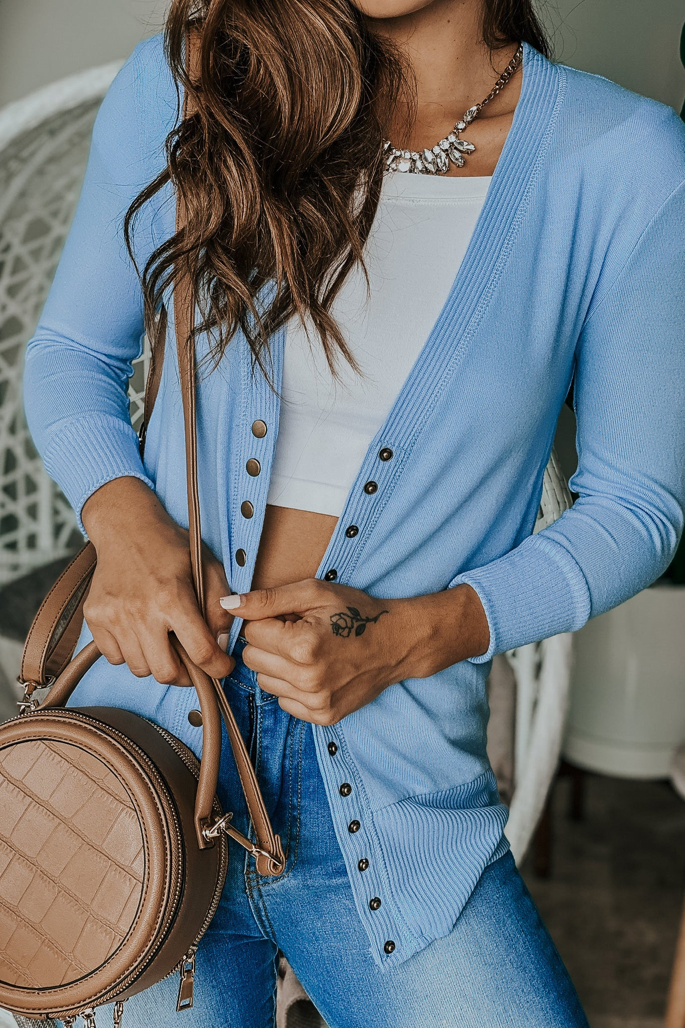 Light Blue Cardigan with 34 Sleeves