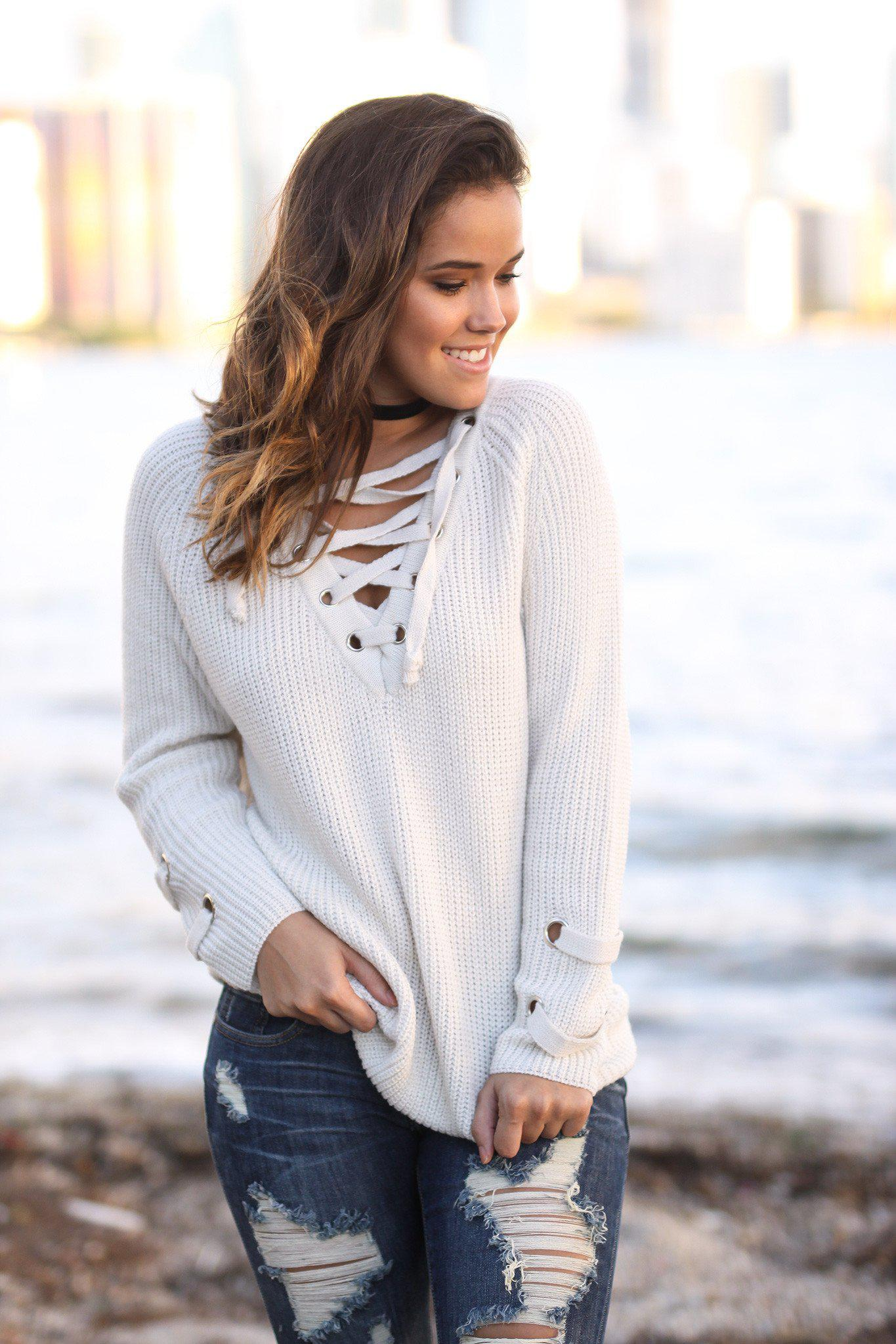 Light Beige Lace Up Sweater