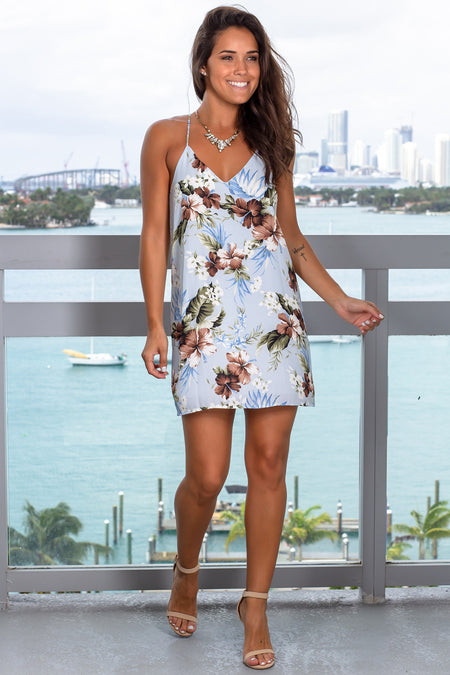 Light Blue Floral Tank Short Dress