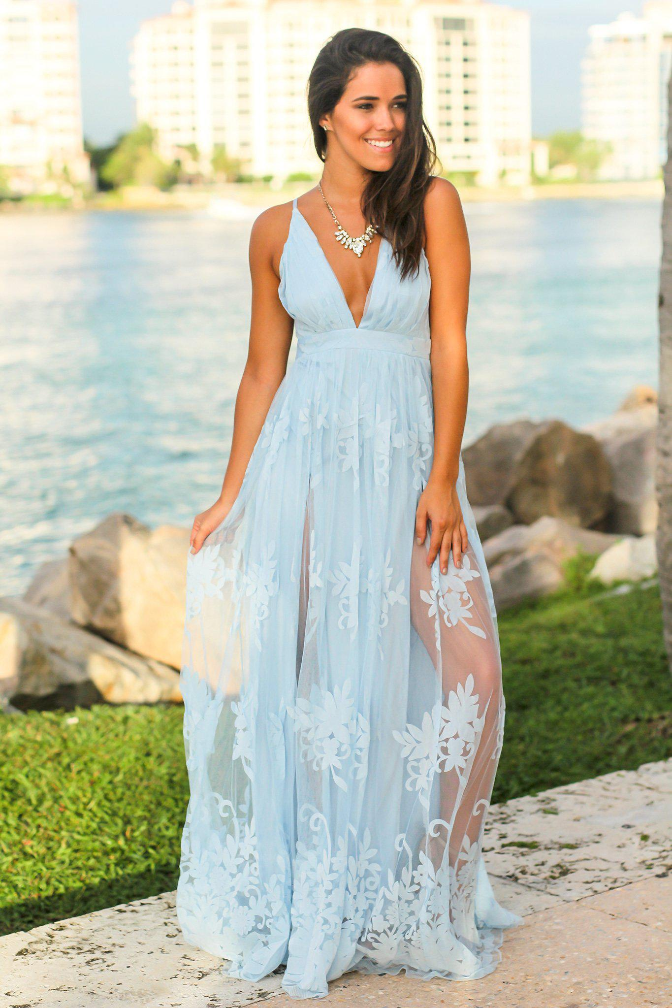 Light Blue Floral Tulle Maxi Dress with Criss Cross Back