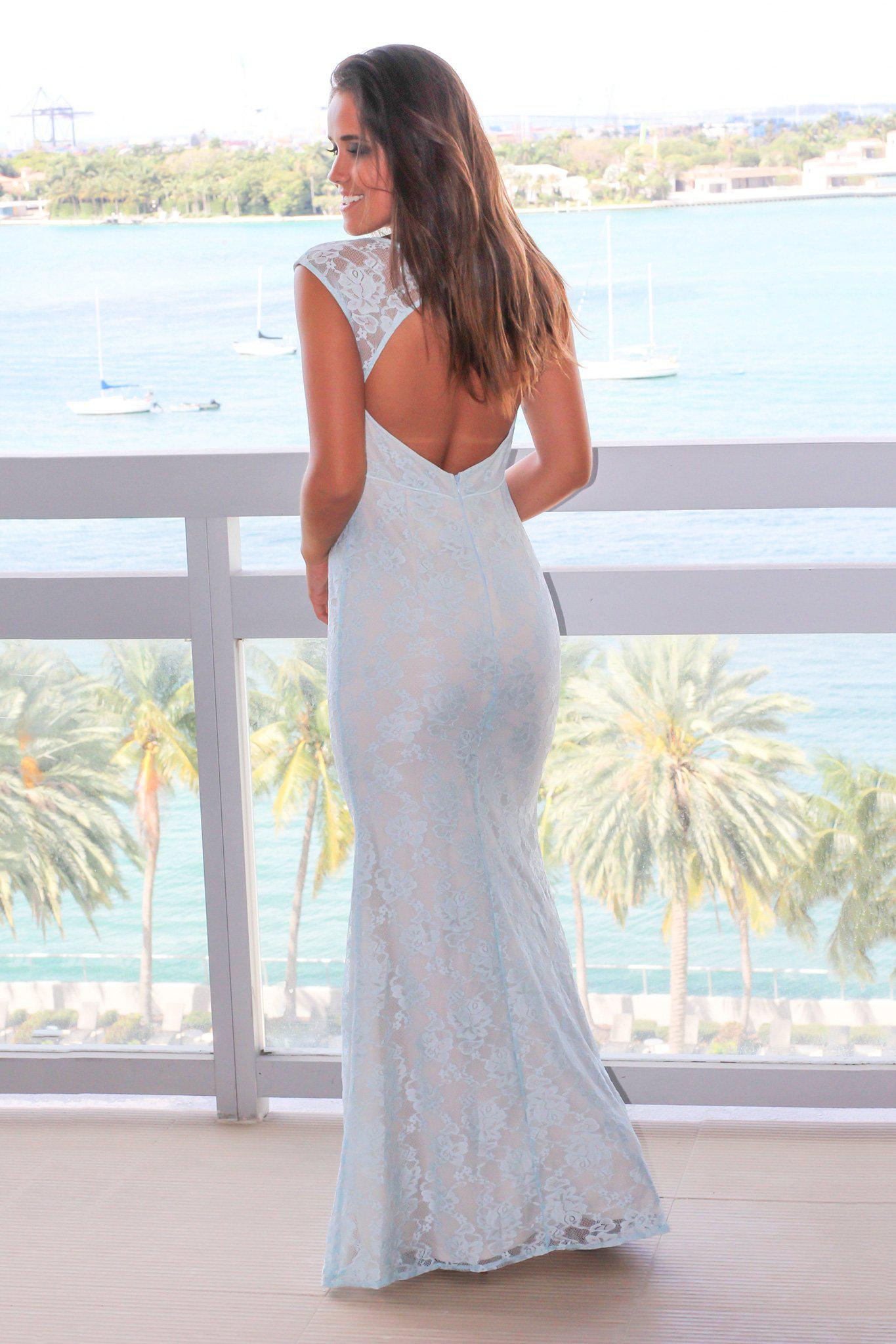 Light Blue Lace Maxi Dress with Mesh Detail