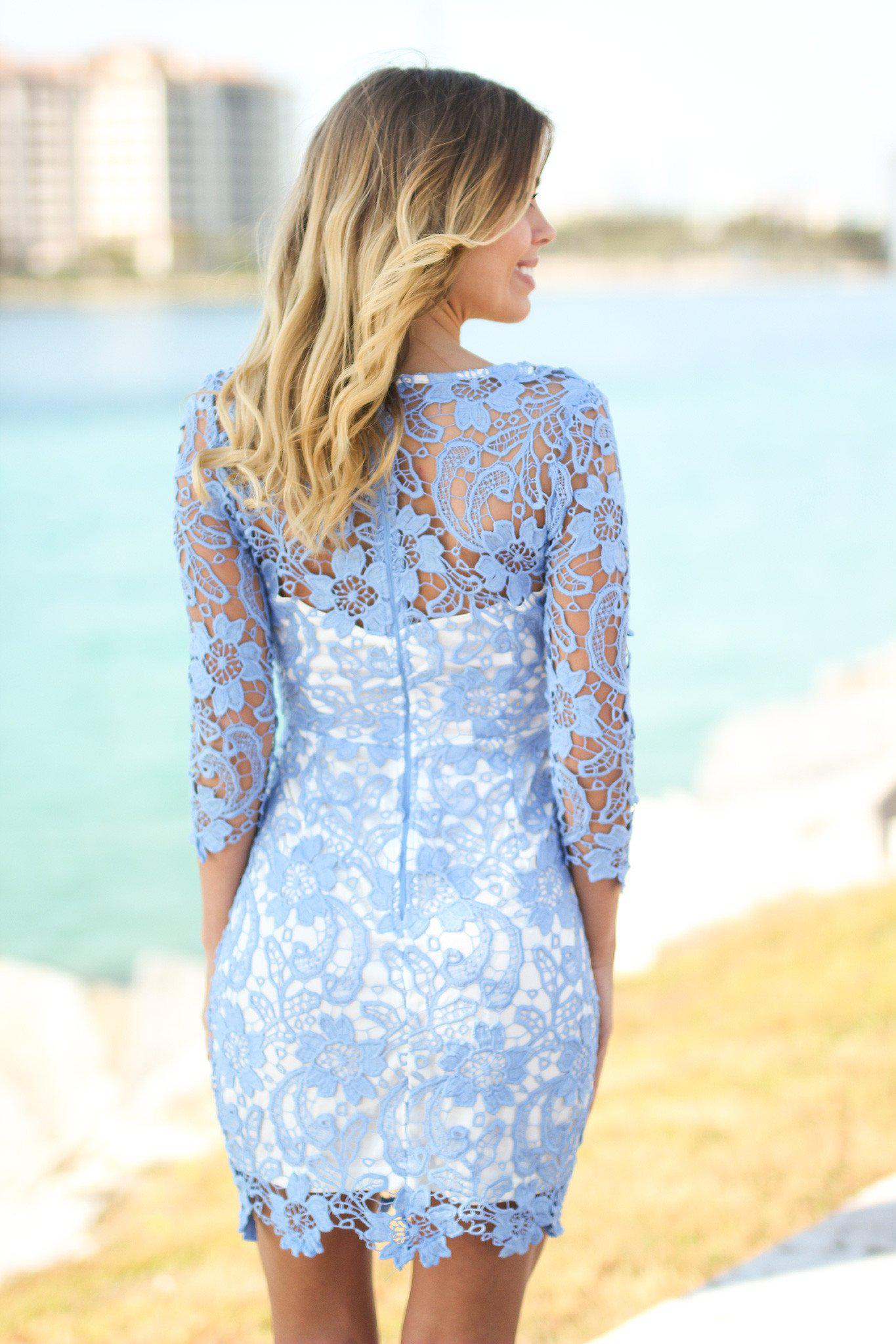 Light Blue Lace Short Dress