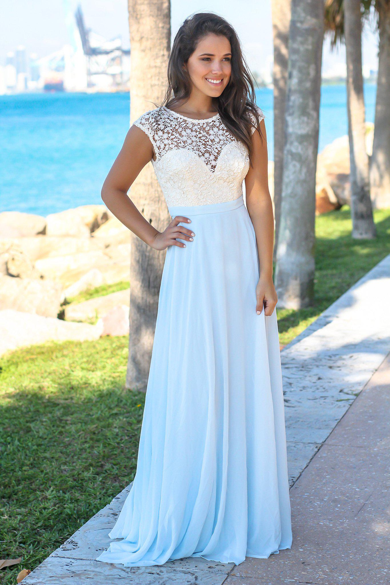 Light Blue Maxi Dress with Crochet Top