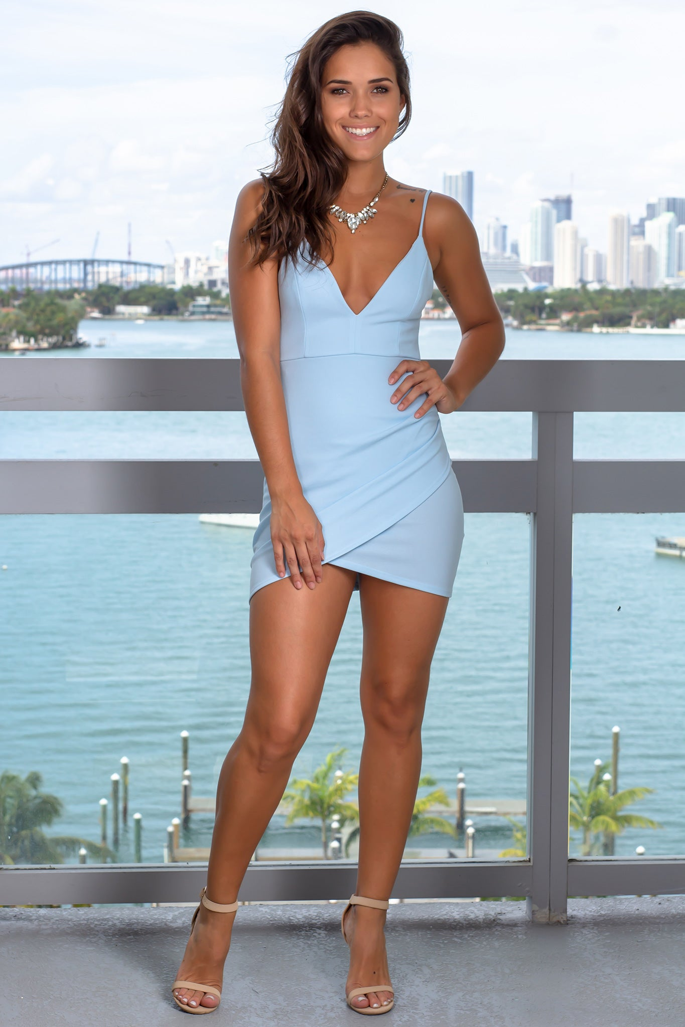 Light Blue Ruched V-Neck Short Dress