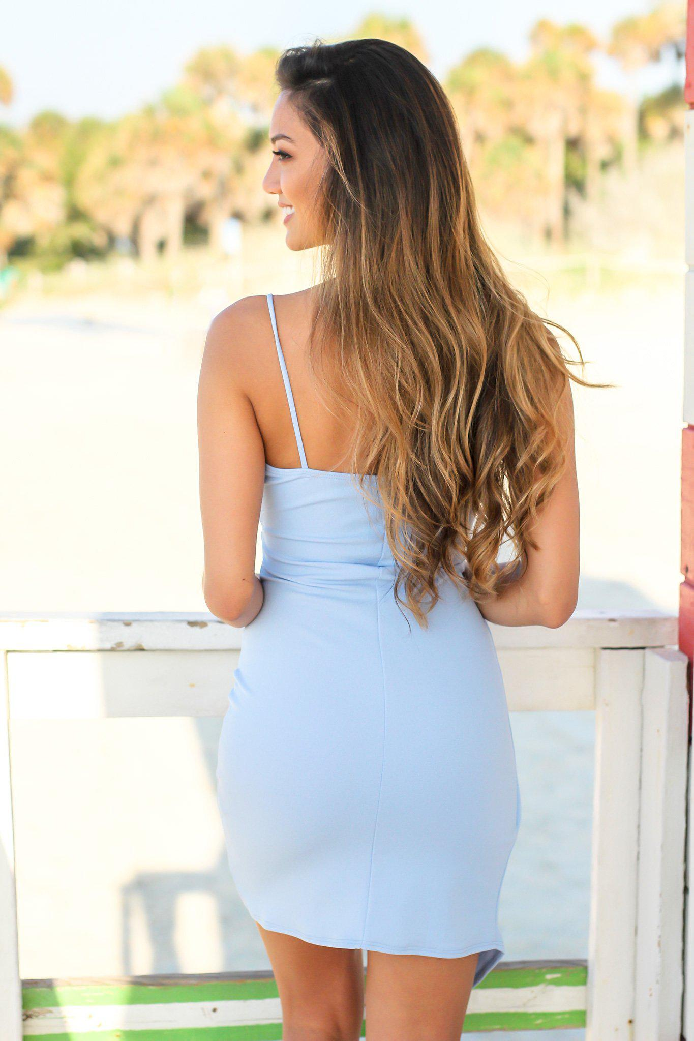 Light Blue Short Dress with Ruched Side