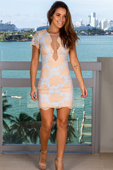 Light Blue and Beige Lace Short Dress