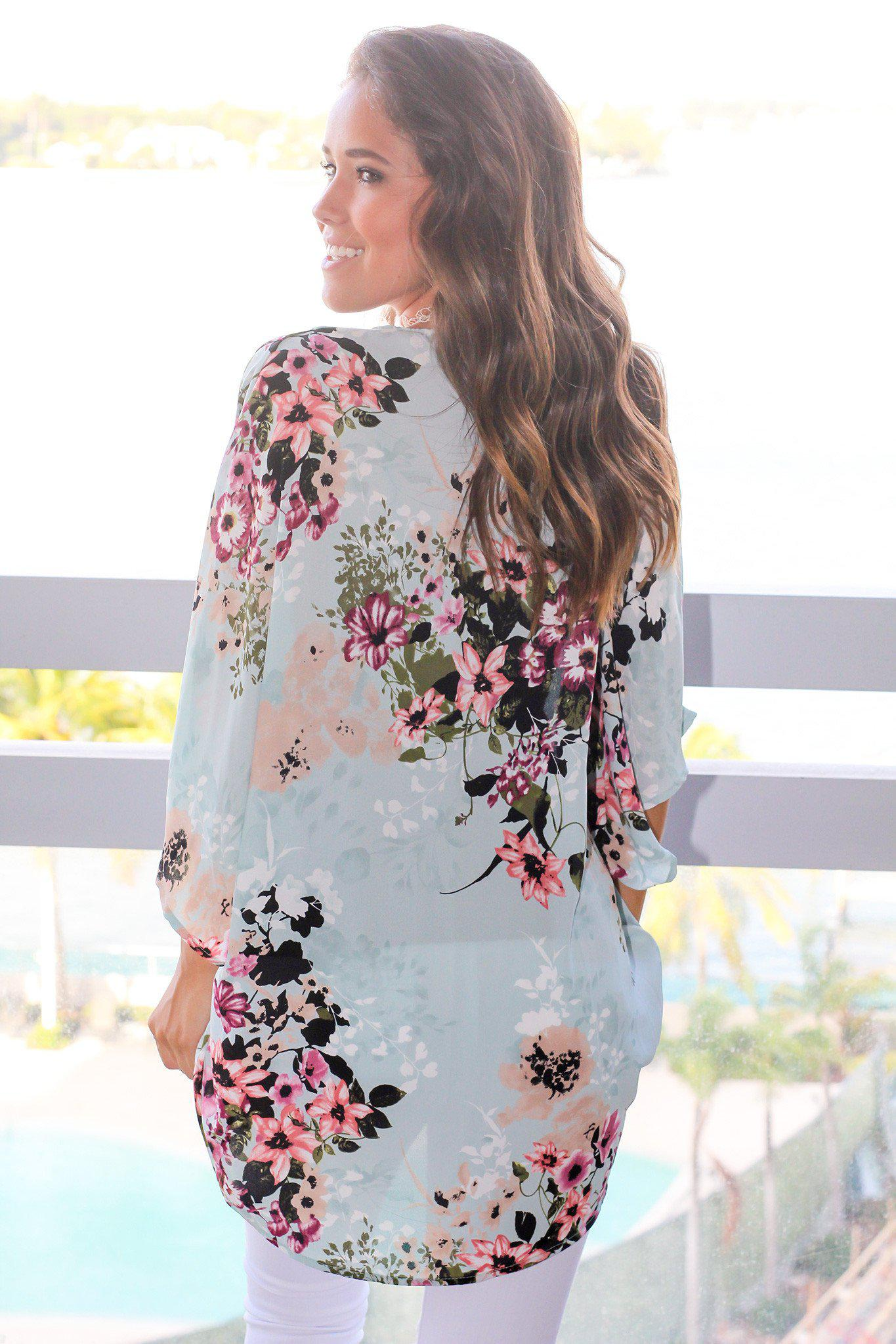 Light Blue and Pink Floral Kimono