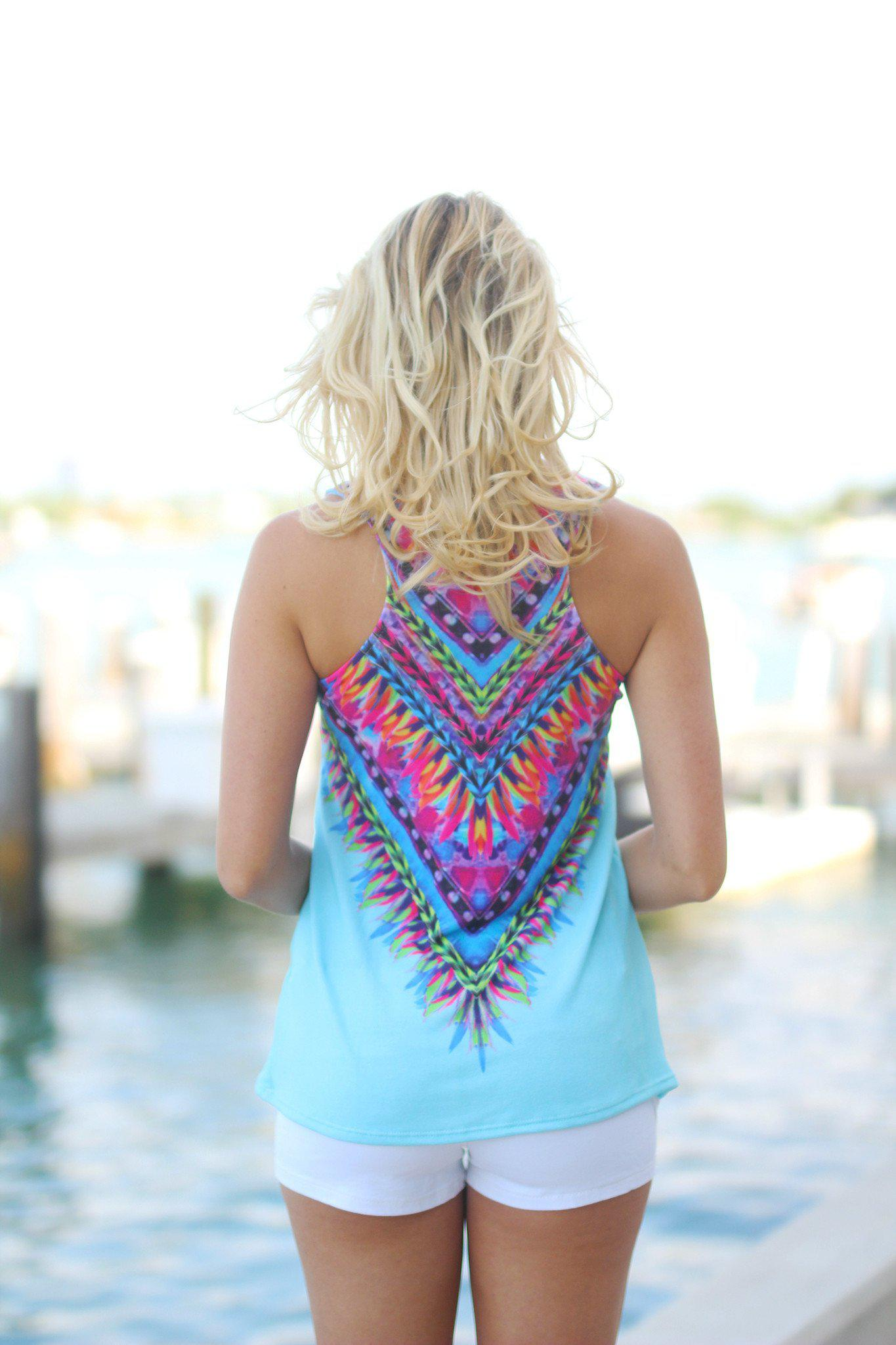 Light Blue Tribal Tank Top