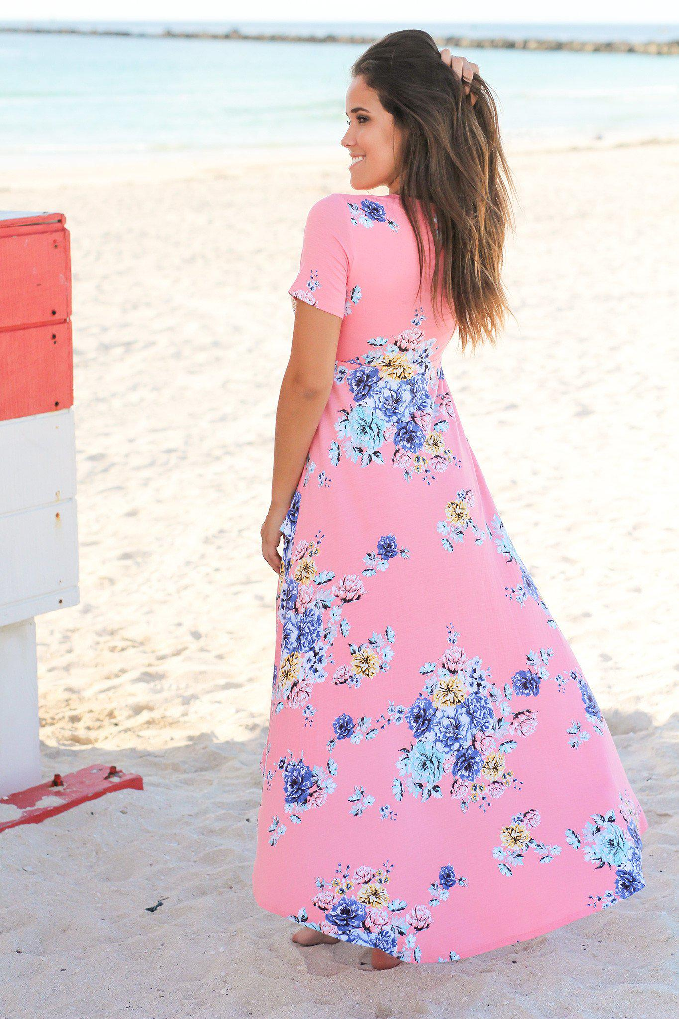 Light Coral Floral High Low Dress