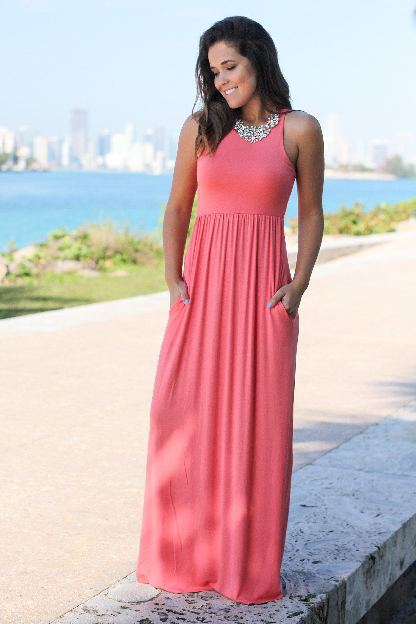 Light Coral Maxi Dress with Pockets