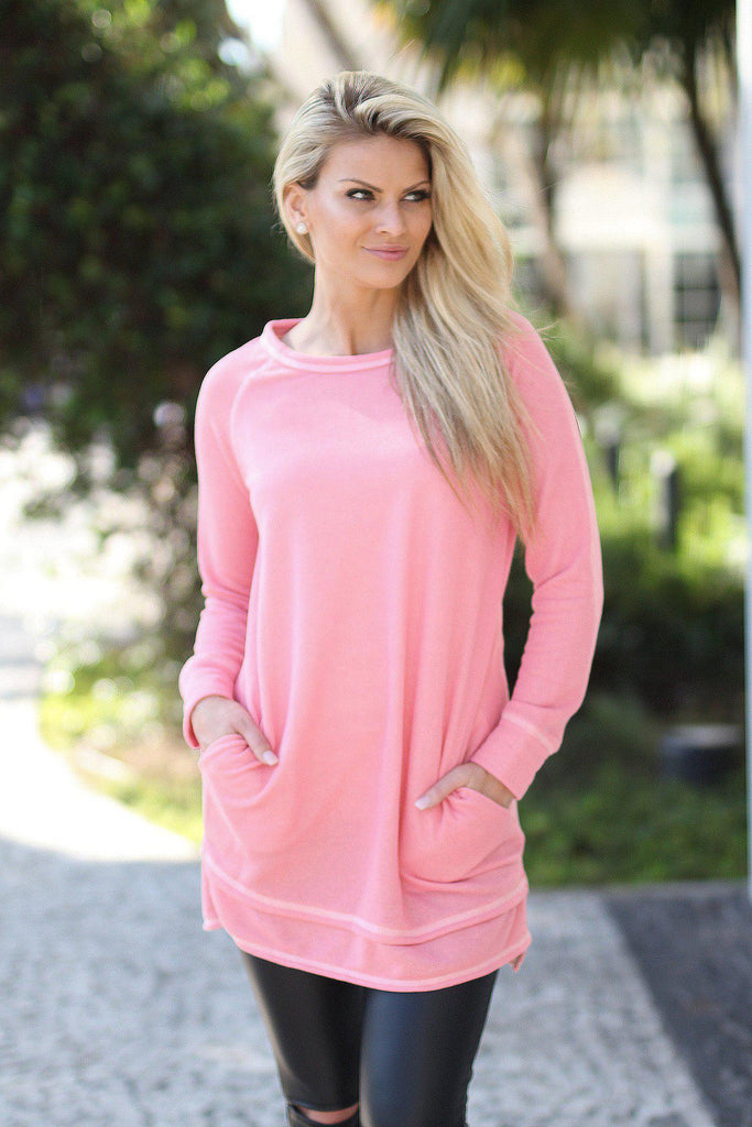 light coral long top