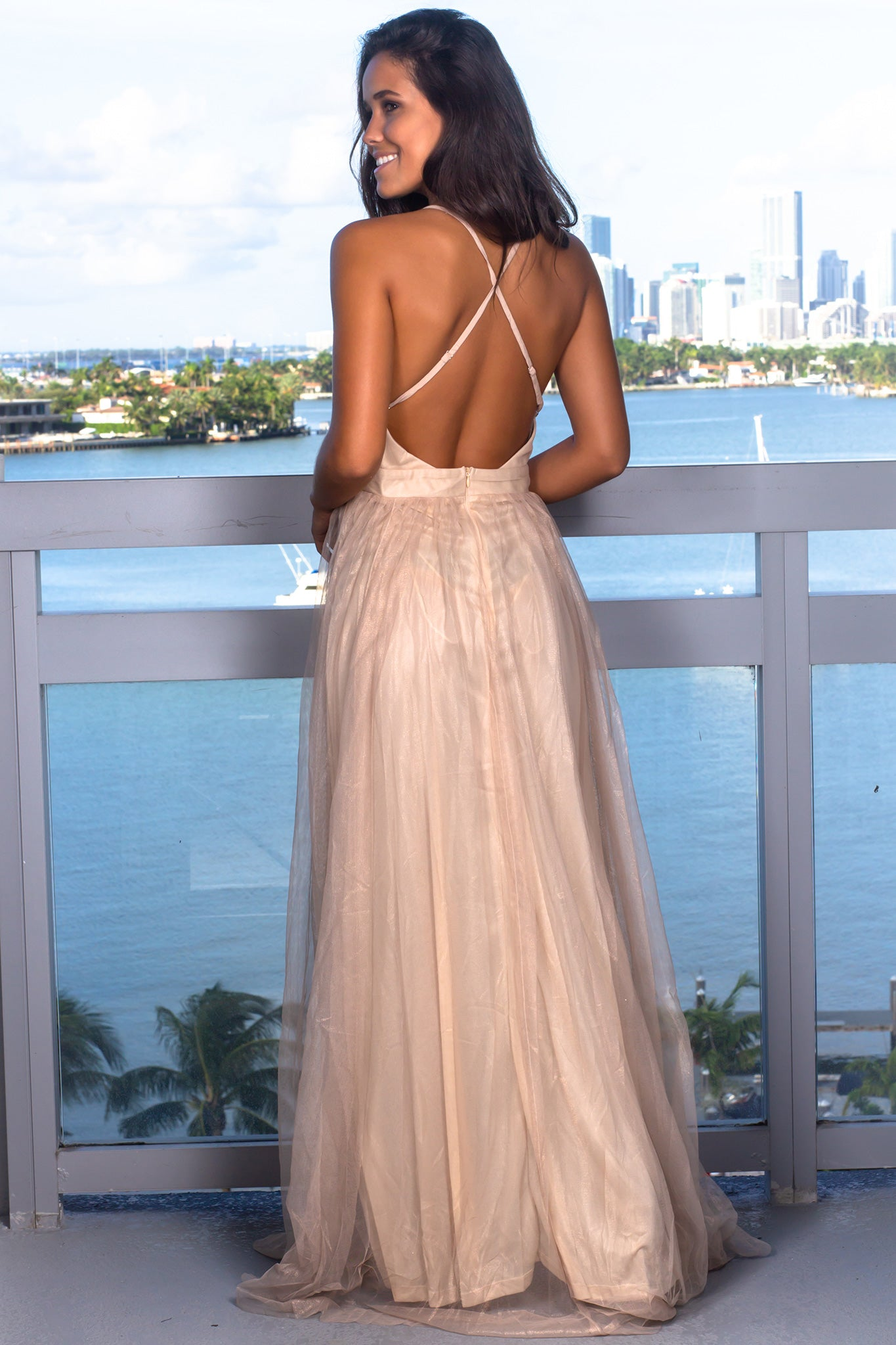 Light Gold Tulle Maxi Dress