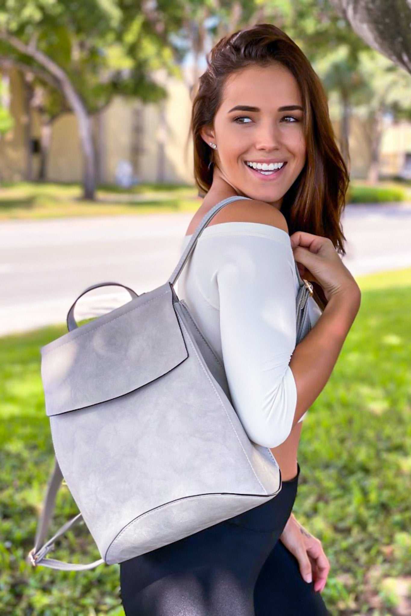 Light Gray Faux Leather Backpack
