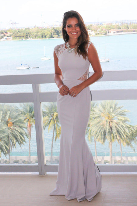 Light Gray Maxi Dress with Lace Cut Outs