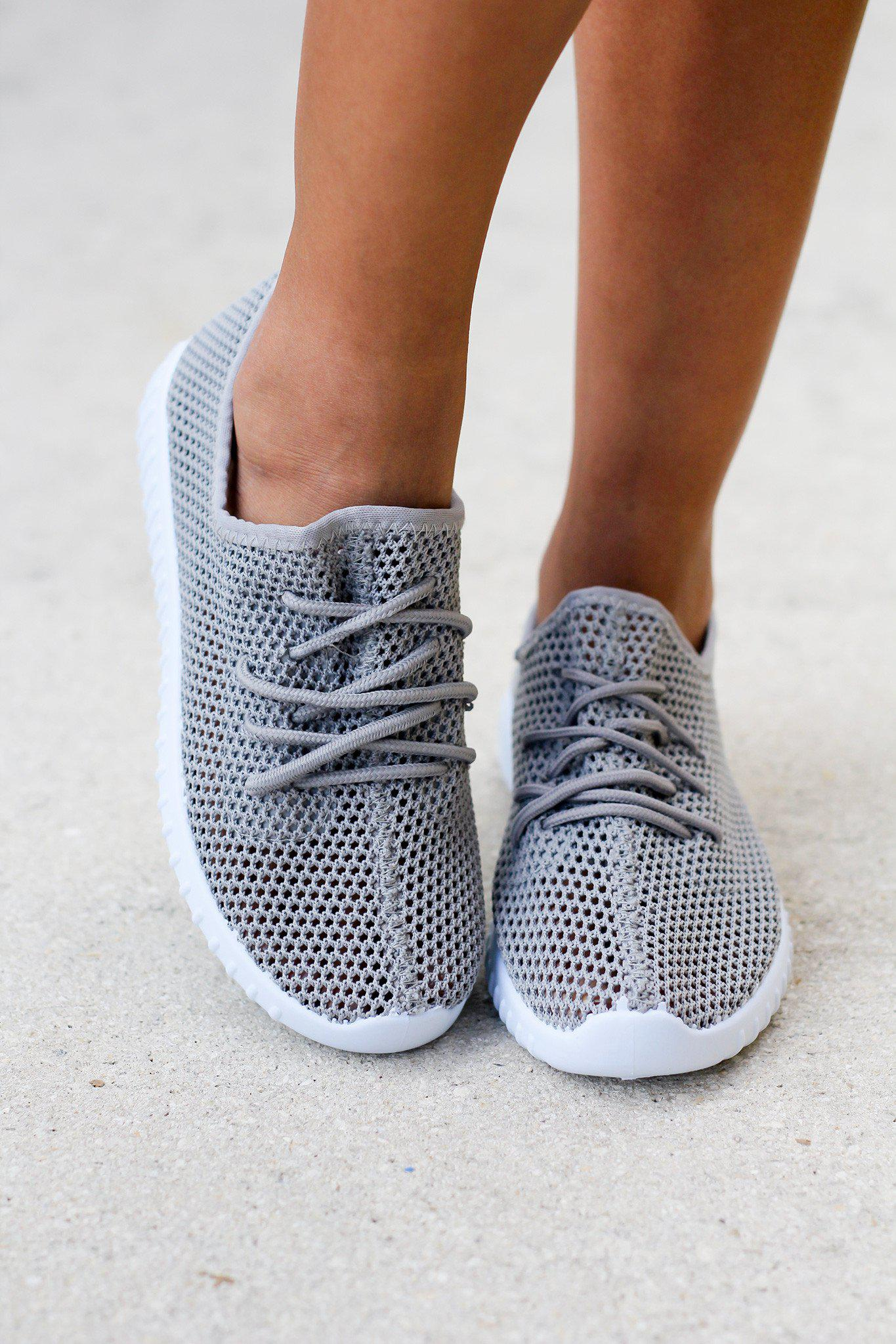 Light Gray Mesh Sneakers