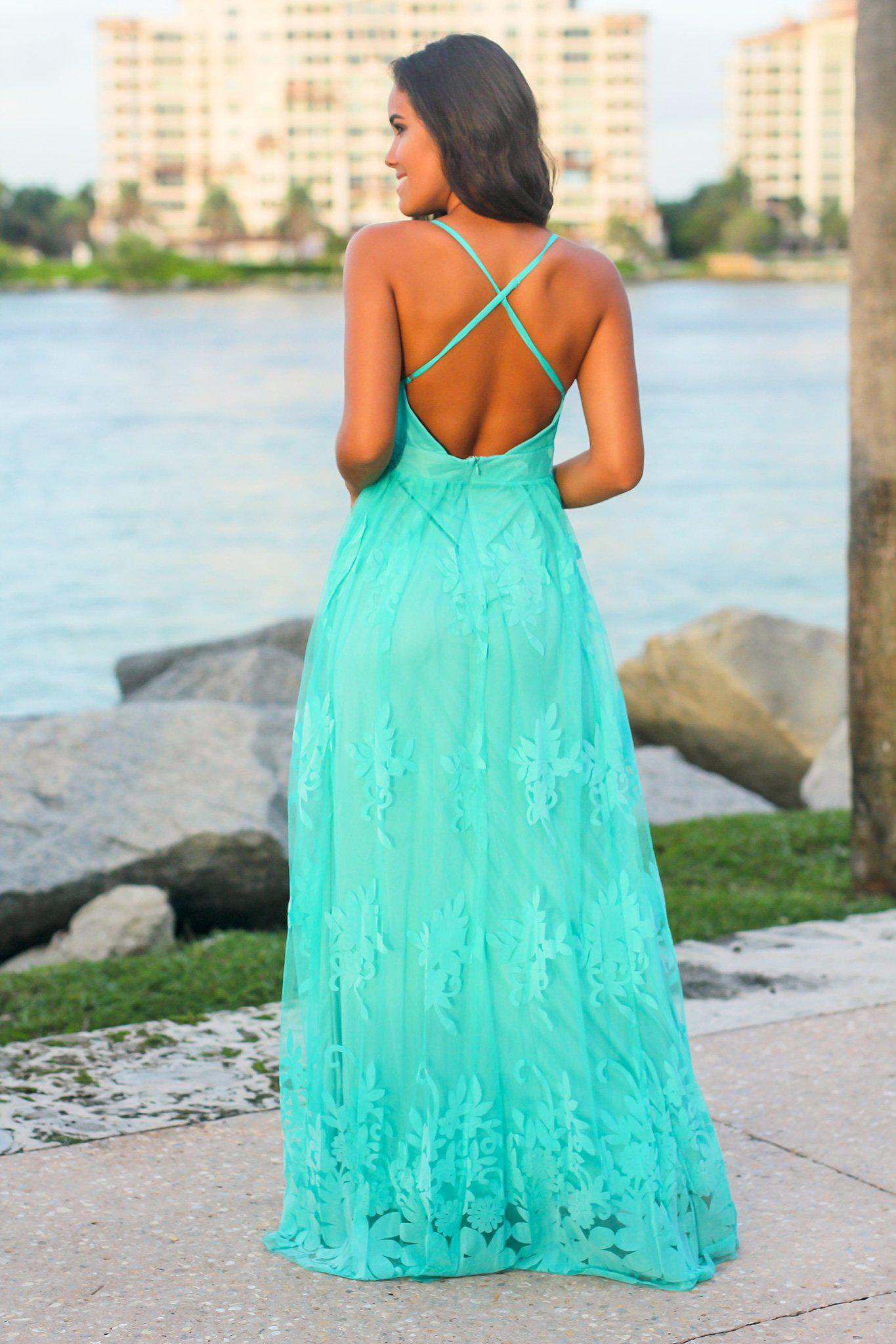 Light Green Floral Tulle Maxi Dress with Criss Cross Back
