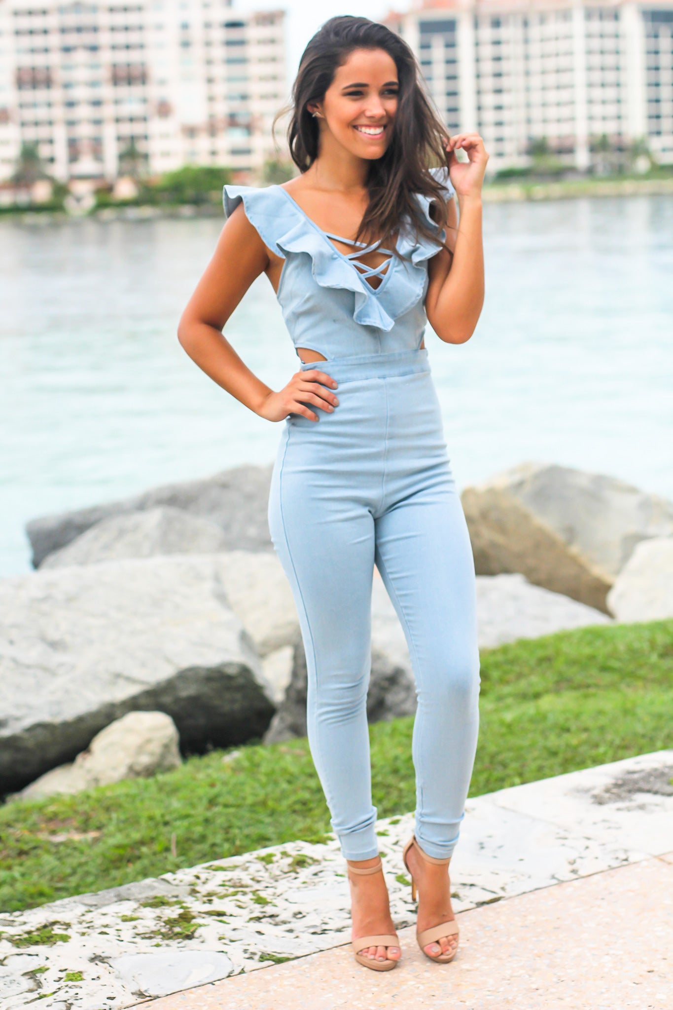Light Indigo Jumpsuit with Ruffle Detail