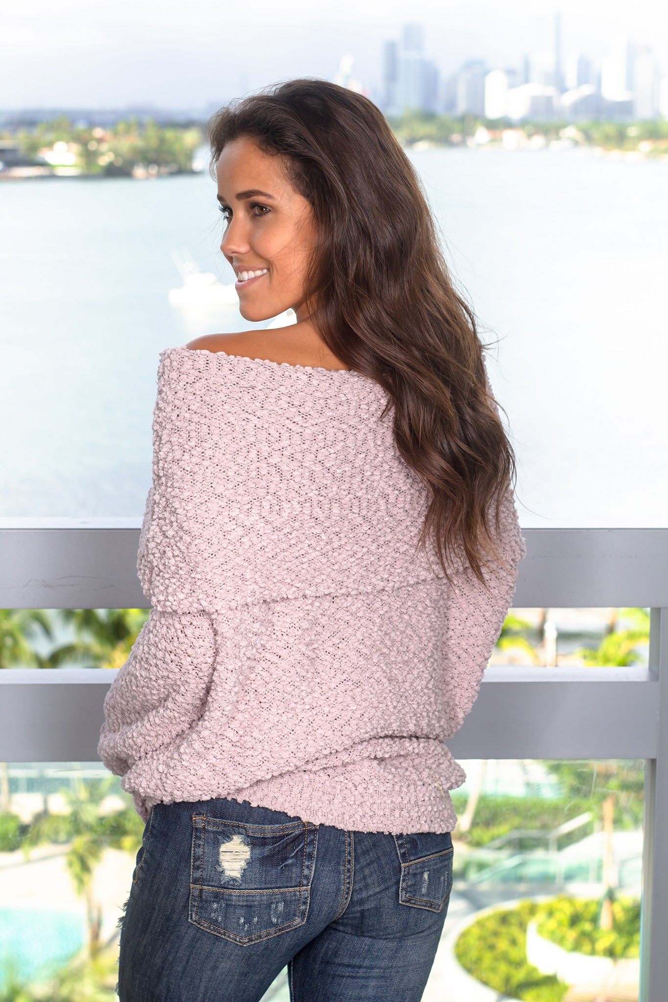 Light Mauve Off Shoulder Tunic Sweater
