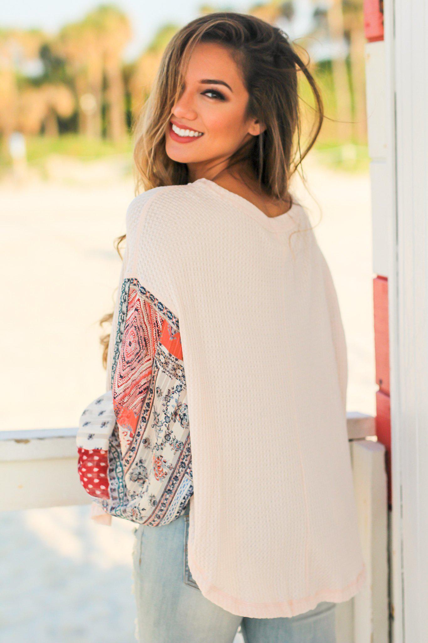 Light Peach Knit Top with Printed Sleeves