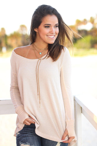 Light Peach Long Sleeve Top with Thumb Holes