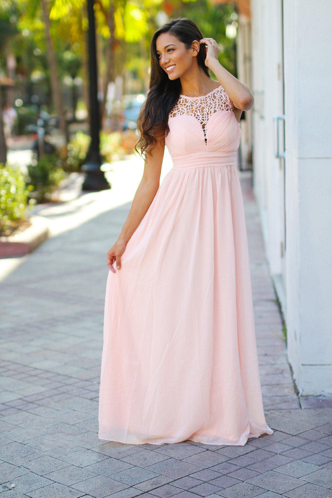 light pink crochet maxi dress