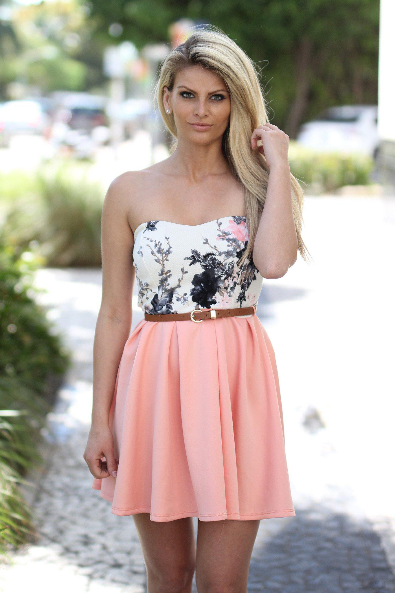 Light Pink Floral Short Dress