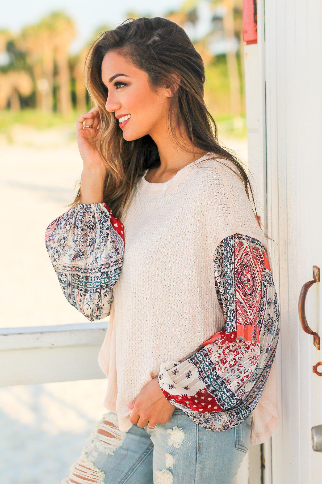 Light Pink Knit Top with Printed Sleeves