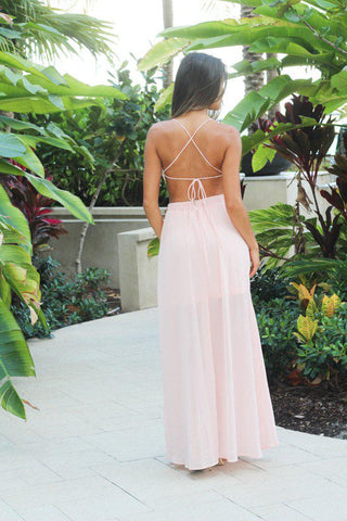 Light Pink Lace Maxi Dress