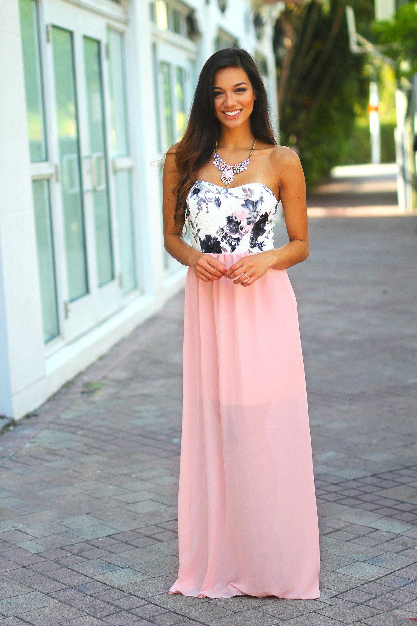Light Pink Maxi Dress With Floral Top