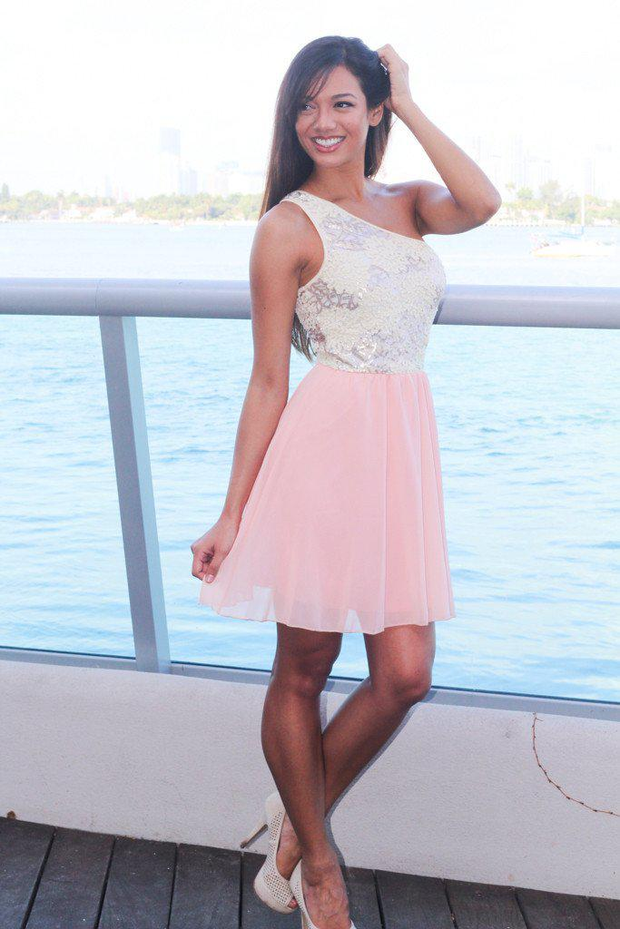 Light Pink One Shoulder Dress