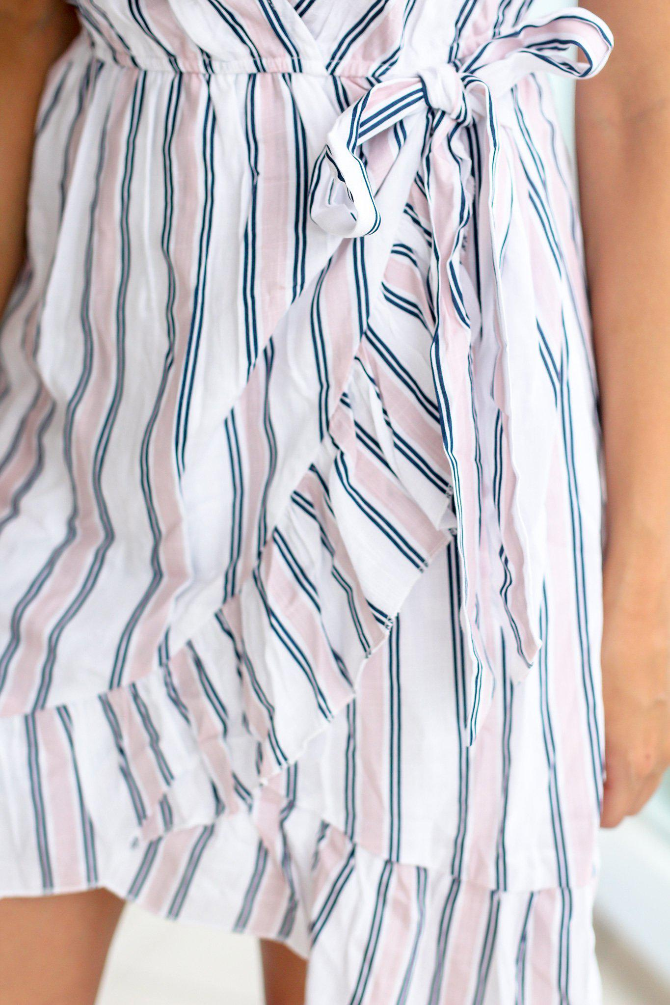 Light Pink Striped Short Dress