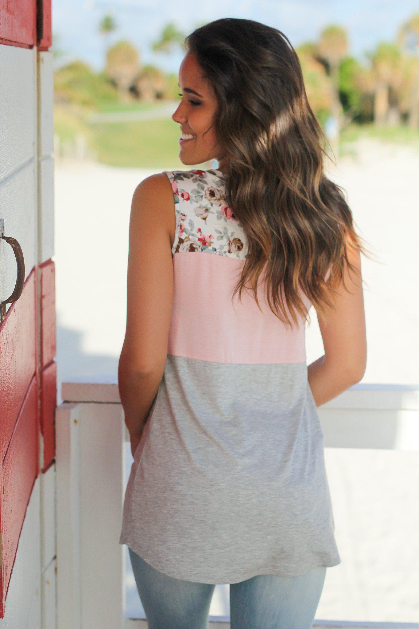 Light Pink and Gray Floral Tank Top