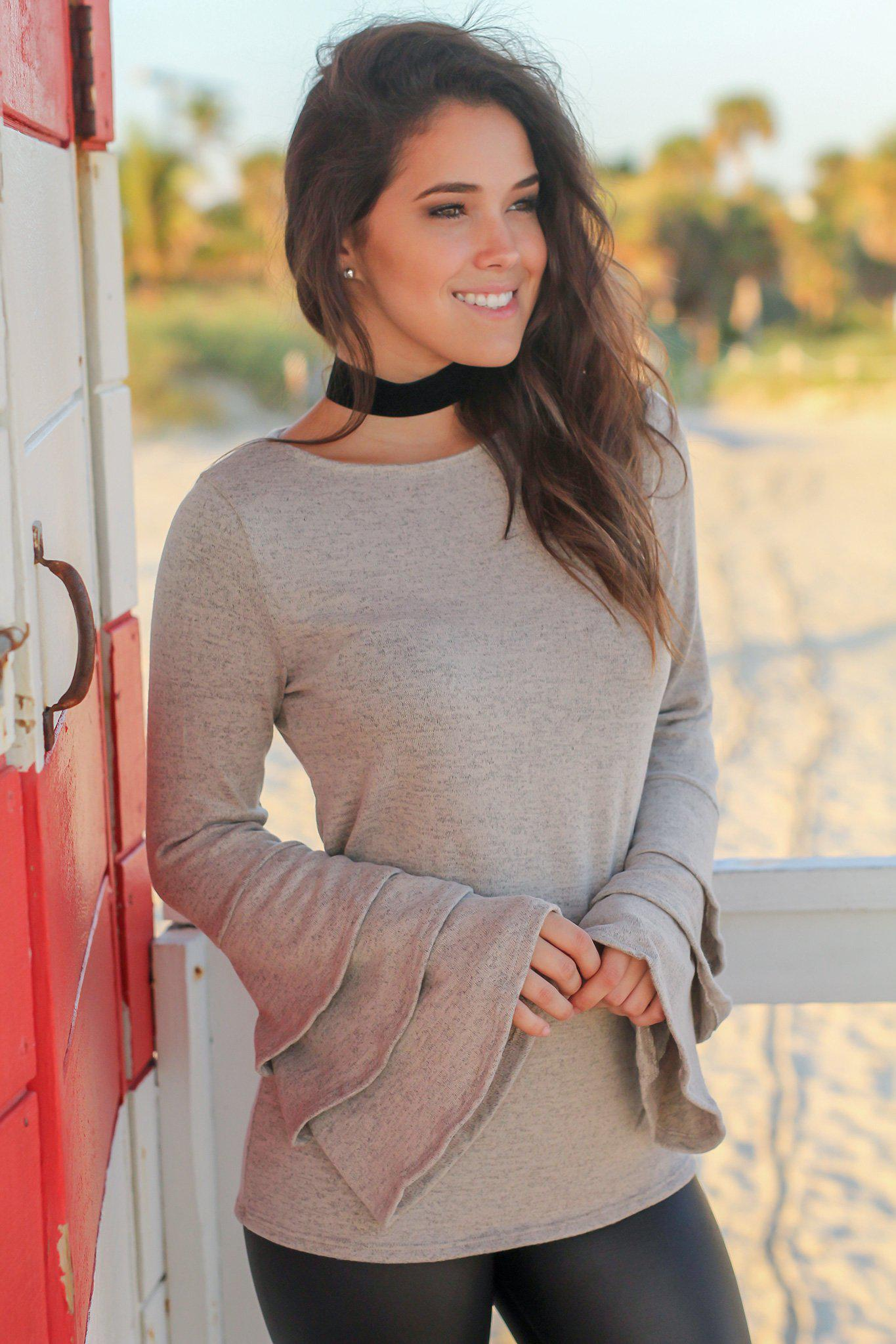 Light Taupe Top with Ruffle Bell Sleeves